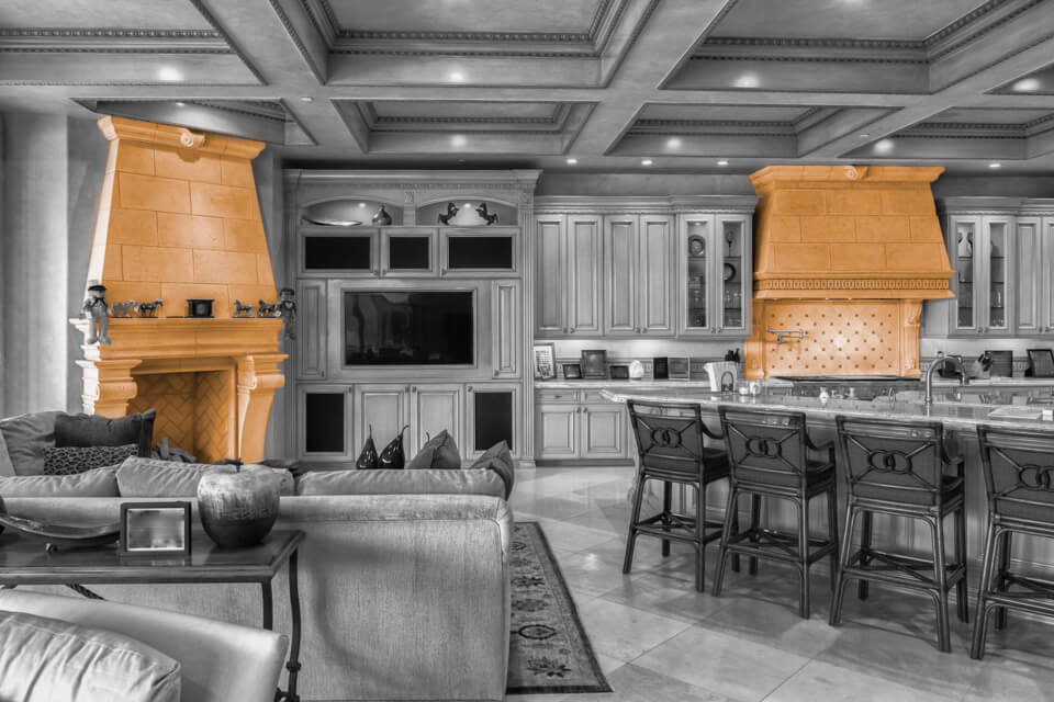 Kitchen hoods and fireplace