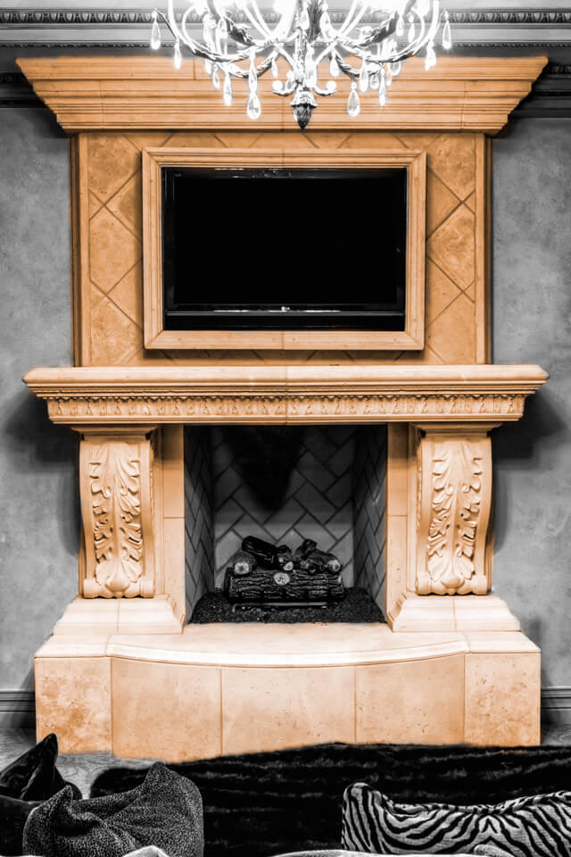 Fireplace TV stand frame