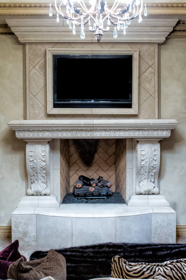 Rustic design TV stand Fireplace