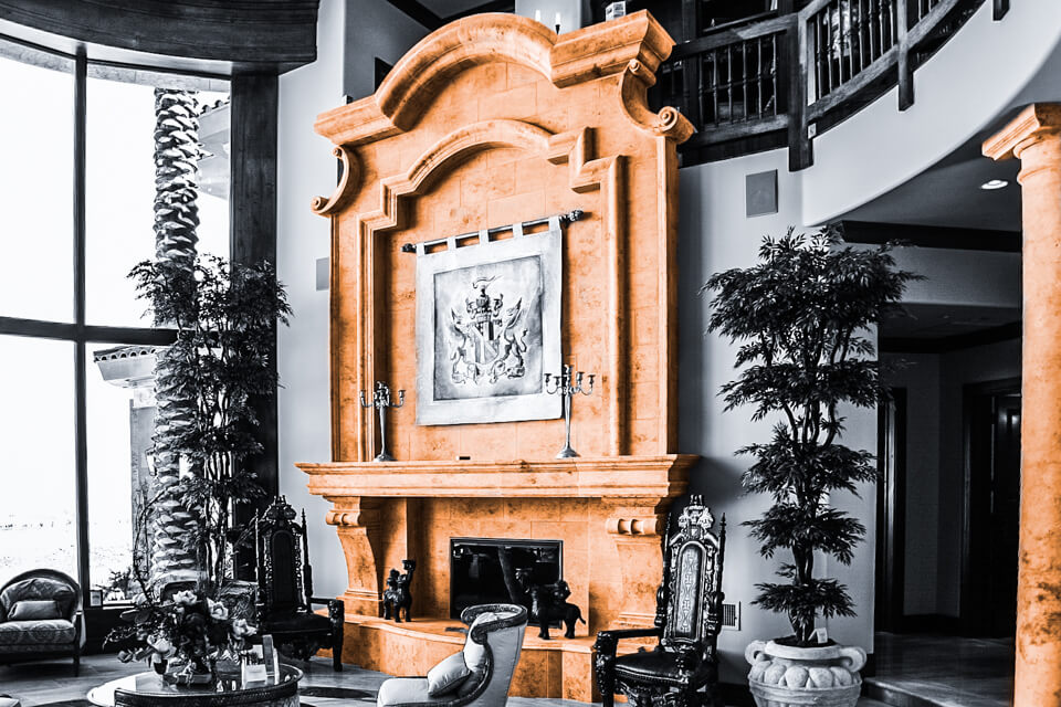 Custom fireplace wall design