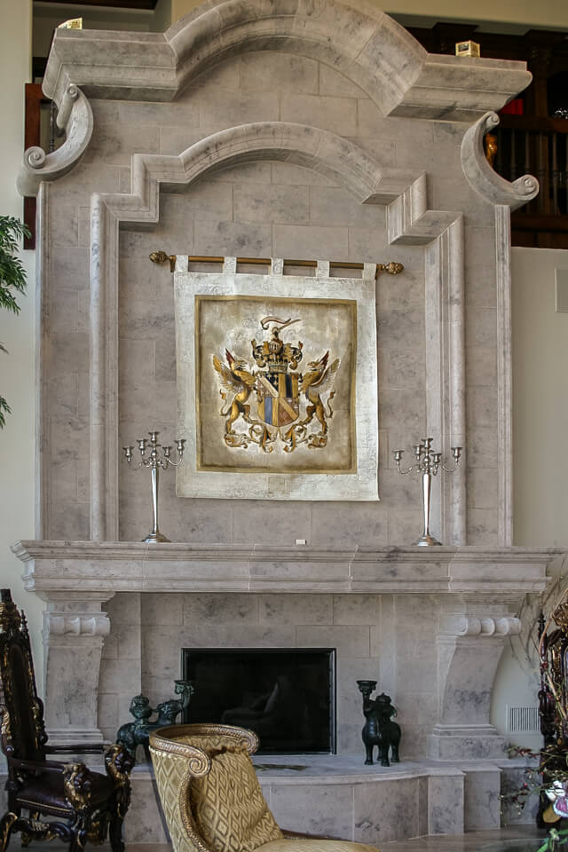 Marble design fireplace surround