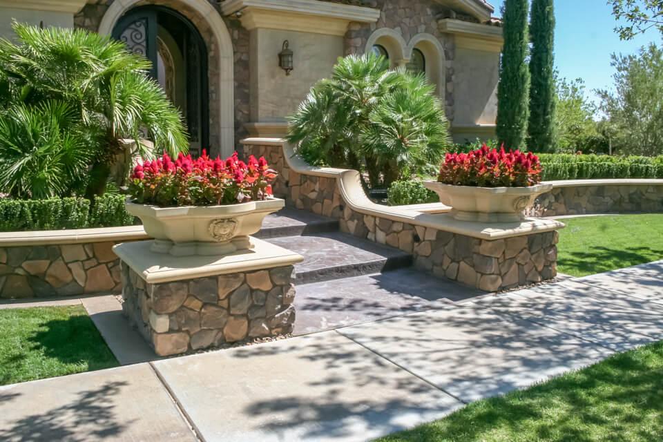 garden stone flower pots