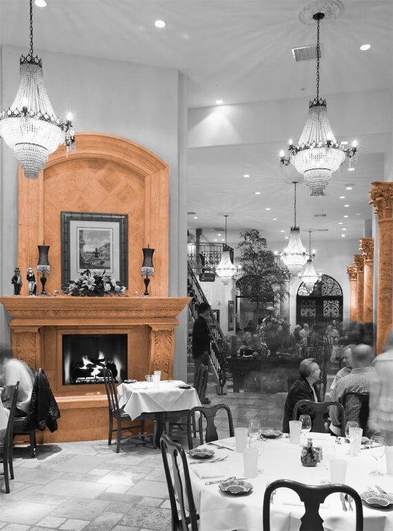 Restaurant fireplace columns
