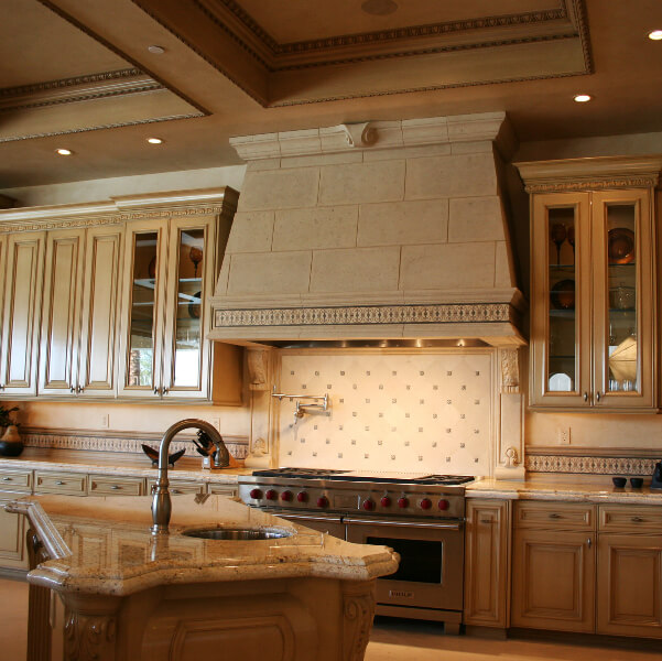 Stone decorated kitchen hood