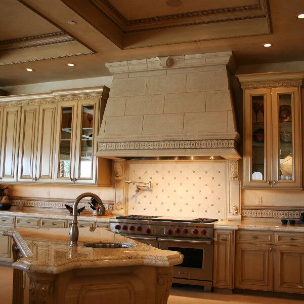 Stone decorated kitchen hood