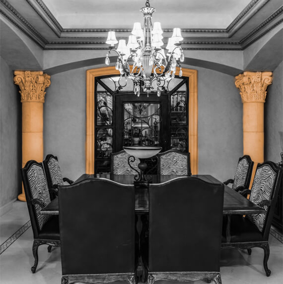 Dining room columns and molding