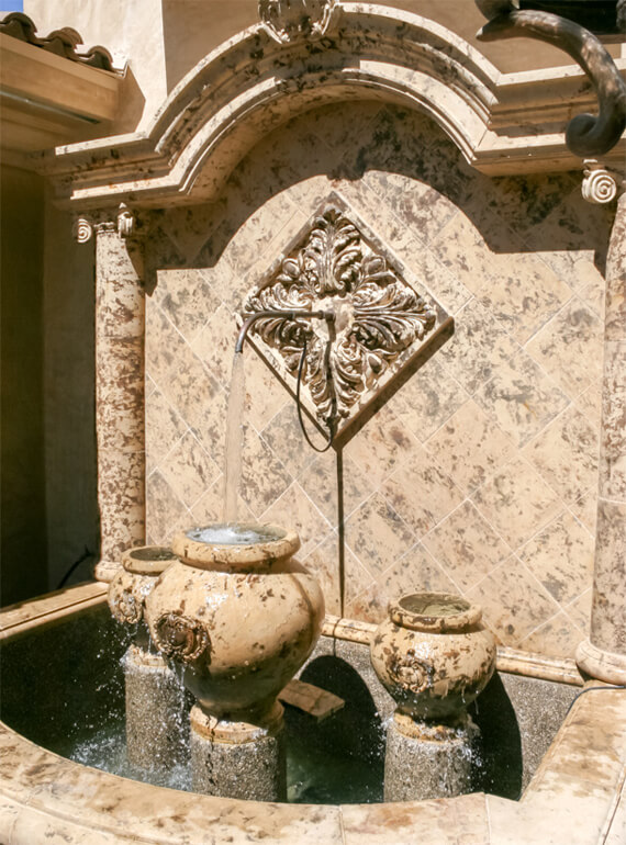Rustic wall fountain