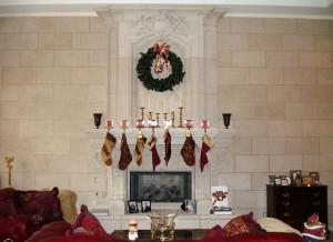 Seasonal fireplace mantels